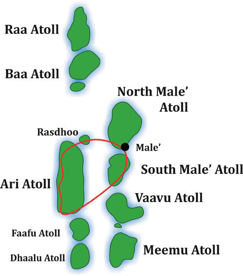 North Male-South Male-Vaavu-South Ari-North Male